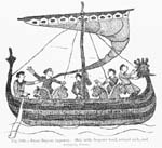 Graphical element: Viking ship portrayed on medieval tapestry