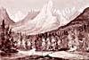 Peinture : Les montagnes Rocheuses vues du fleuve Columbia