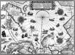 Illustration tirée d'une carte : Navires tirés de la « World Map » de Wright, 1598