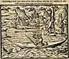 Dessin : Inuit chassant de son kayak, XVIIe siècle
