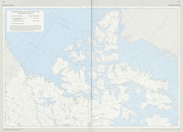 Map: 'Distribution of Population in Northern Canada, 1961,' 1974