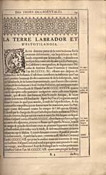 Image: Page tirée du récit des voyages des Corte Real écrit par Wytfliet