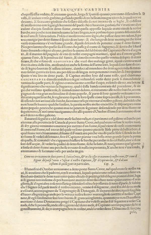 Image: Page from Ramusio's account of Cartier's voyages