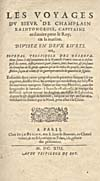 Élément graphique : Page de titre du récit qu'a écrit Champlain en 1613