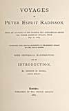 Élément graphique : Page de titre du récit des voyages de Radisson écrit par Scull