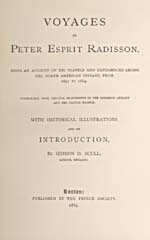 Image: Title page of Scull's account of Radisson's voyages