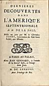 Digital photograph: Title page of de Tonti's account of La Salle's voyages