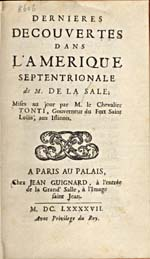 Image: Title page of de Tonti's account of La Salle's voyages