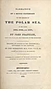 Élément graphique : Page de titre du récit qu'a écrit Franklin de son deuxième voyage