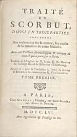 "Image: Title page of the French translation of Lind's ""Treatise on the Scurvy"""
