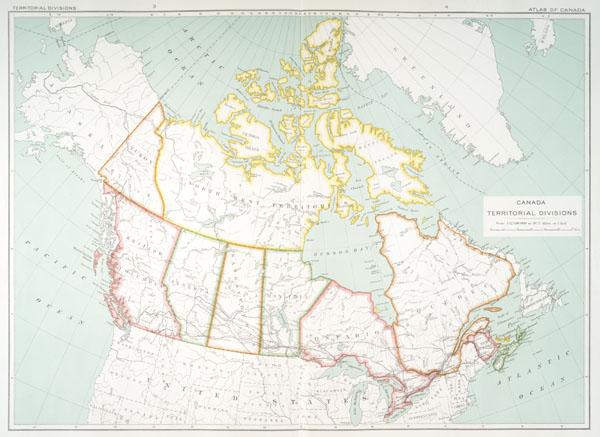 Map: 'Canada's Territorial Divisions,' 1915