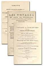 Image : Pages de titre de quelques récits de voyages réalisés pour chercher le passage du Nord-Ouest