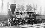 Photograph of the first steam locomotive built in Canada