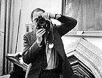 Prime Minister Pierre Trudeau with one of Duncan Cameron's cameras, June 28, 1968.
