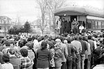 """Whistle Stop Tour of the Maritimes"": Prime Minister Pierre Trudeau addressing a crowd during the 1974 election campaign, May 1974."