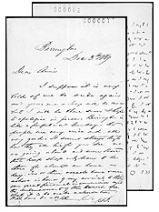 Letter from John Thompson to Annie Affleck, December 3, 1869, and a letter in shorthand.