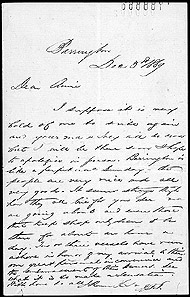 Letter from John Thompson to Annie Affleck, December 3, 1869