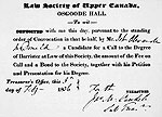 Receipt for application to the Law Society of Upper Canada issued to John A. Macdonald, February 5, 1836.