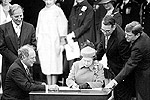 Signing of the Constitution (Gerald Regan, Prime Minister Pierre Trudeau, Her Majesty the Queen, Michael Kirby, Michael Pitfield),  April 17, 1982.