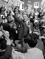 Pierre Trudeau at the Liberal leadership convention, April 6, 1968.