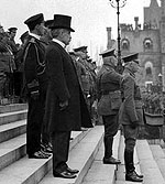 Governor General the Duke of Connaught, Prime Minister Robert Borden and General Sam Hughes with staff, inspecting the new contingents for the war, ca. 1914-1916.