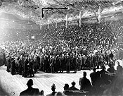 Leader of the Opposition Wilfrid Laurier's reception at a Liberal meeting, Arena Gardens, Toronto, May 5, 1913.