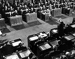 Prime Minister John Diefenbaker speaking in the House of Commons, October 14, 1957.