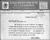Telegram of condolence from Prime Minister Lester B. Pearson to Mrs. J.F. Kennedy, November 29, 1963.