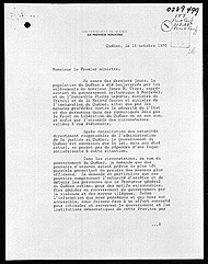 Letter from Quebec Premier Robert Bourassa to Prime Minister Pierre Trudeau requesting the imposition of the War Measures Act, October 16, 1970.