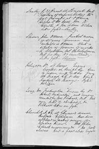 A page from Prime Minister Alexander Mackenzie's record book in the 1870s, showing the names of people and jobs they had been given. For example: 'Bailey, Geo., has been employed on the York roads.'
