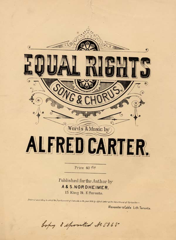 Title page of a song entitled EQUAL RIGHTS, by Alfred Carter, 1890