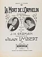 Cover of sheet music for song, LA MORT DE L'ORPHELIN, music written by J. Hervey Germain