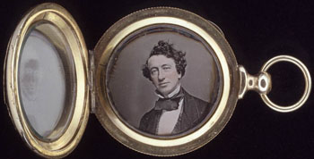 Daguerreotype of John A. MacDonald contained in a gold locket.