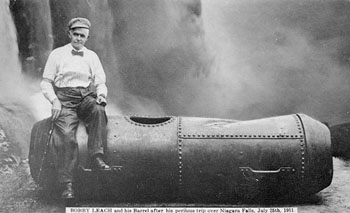 Bobby Leach and his barrel after his perilous trip over Niagara Falls, 25th July 1911.