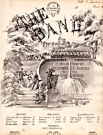 Illustrated cover of the sheet music for THE BAND: A SELECTION OF FASHIONABLE DANCES FOR THE PIANO FORTE, by C.P. Woodlawn